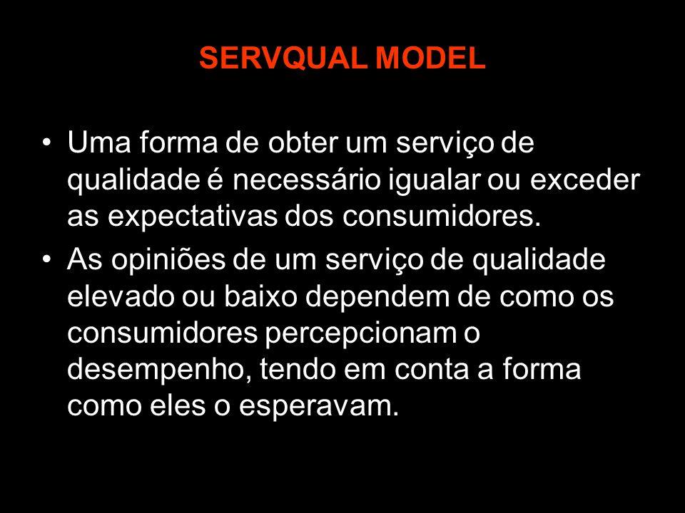 SERVQUAL MODEL Uma forma de obter um serviço de qualidade é necessário igualar ou exceder as expectativas dos consumidores.