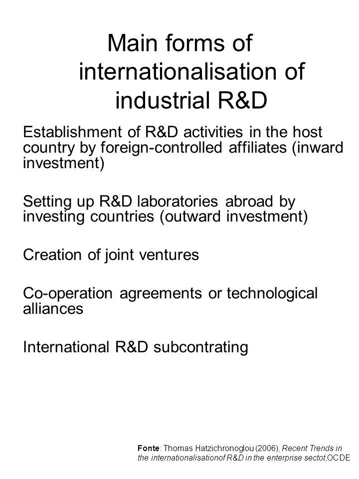 Main forms of internationalisation of industrial R&D