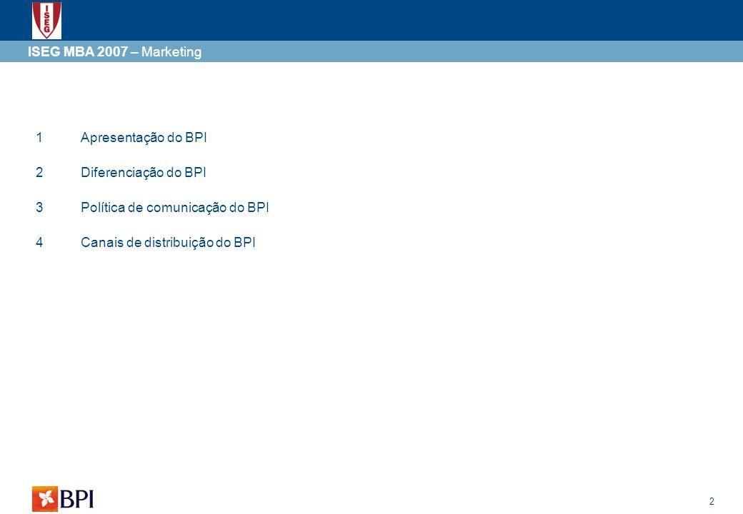 ISEG MBA 2007 – Marketing 1. Apresentação do BPI. 2. Diferenciação do BPI. 3. Política de comunicação do BPI.