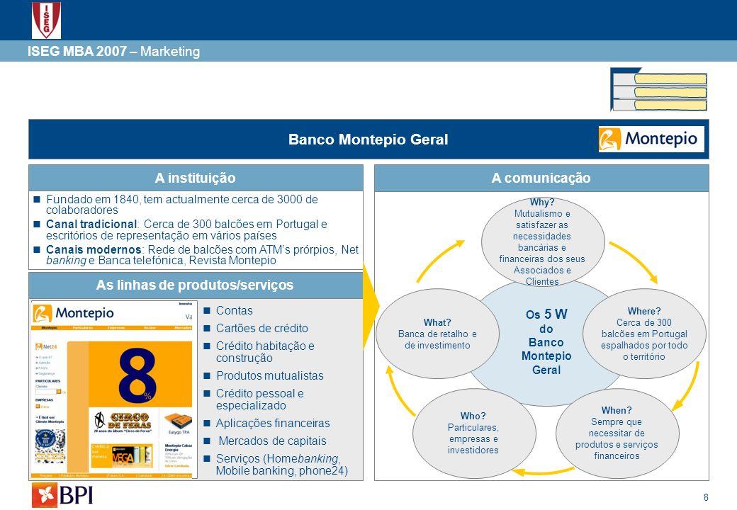 As linhas de produtos/serviços Os 5 W do Banco Montepio Geral