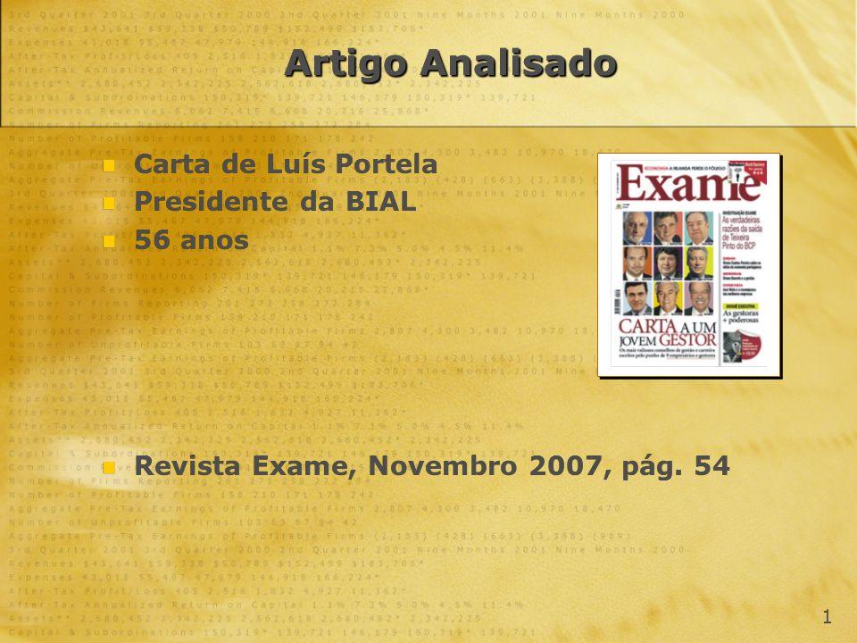 Artigo Analisado Carta de Luís Portela Presidente da BIAL 56 anos