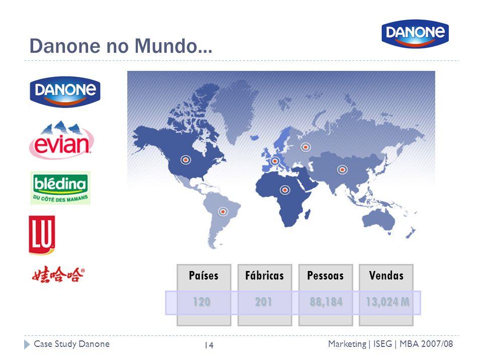 Danone no Mundo... Países Fábricas Pessoas Vendas 120 201 88,184