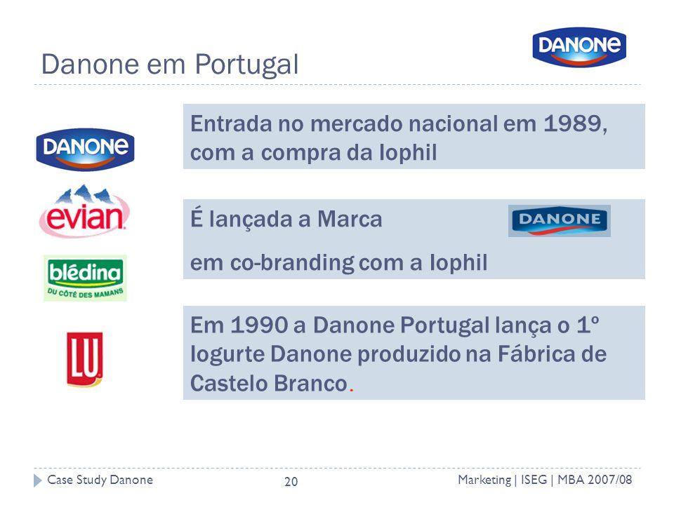 Danone em Portugal Entrada no mercado nacional em 1989, com a compra da Iophil. É lançada a Marca.
