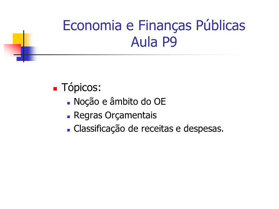 Economia e Finanças Públicas Aula P9