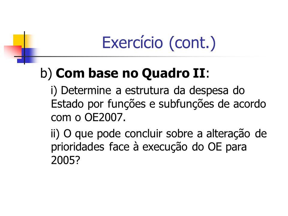 Exercício (cont.) b) Com base no Quadro II: