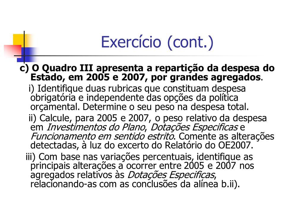 Exercício (cont.) c) O Quadro III apresenta a repartição da despesa do Estado, em 2005 e 2007, por grandes agregados.