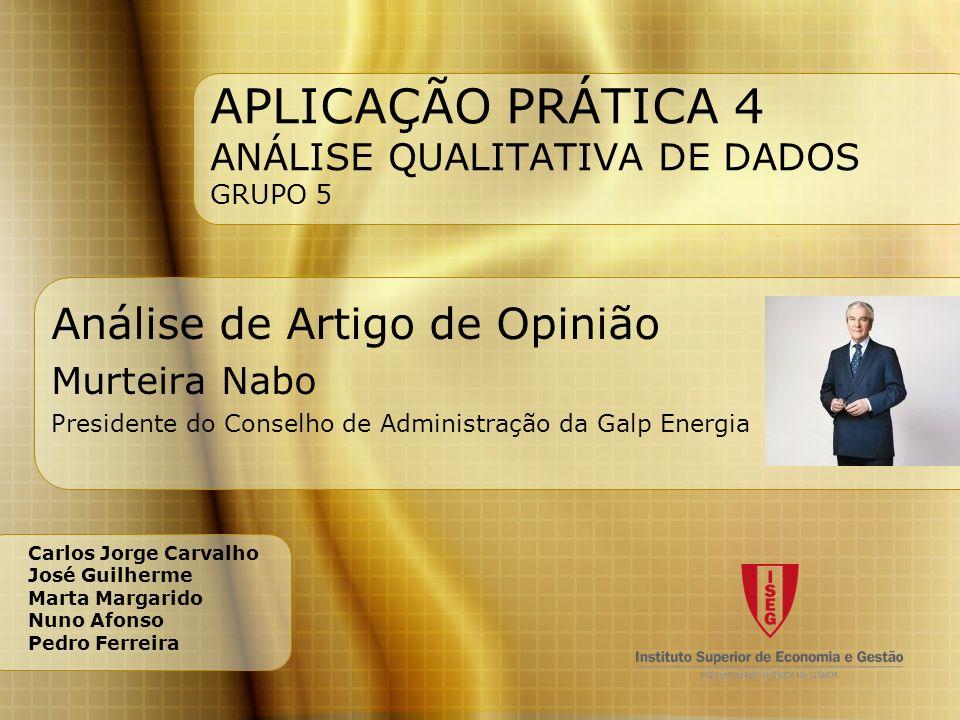 APLICAÇÃO PRÁTICA 4 ANÁLISE QUALITATIVA DE DADOS GRUPO 5