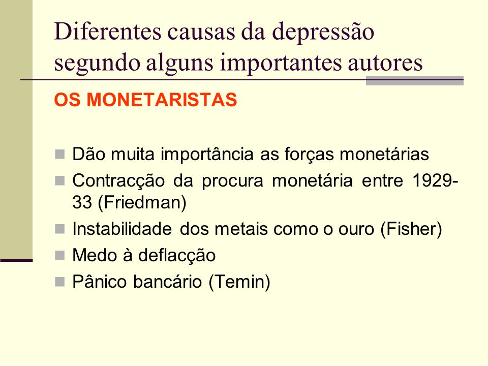 Diferentes causas da depressão segundo alguns importantes autores