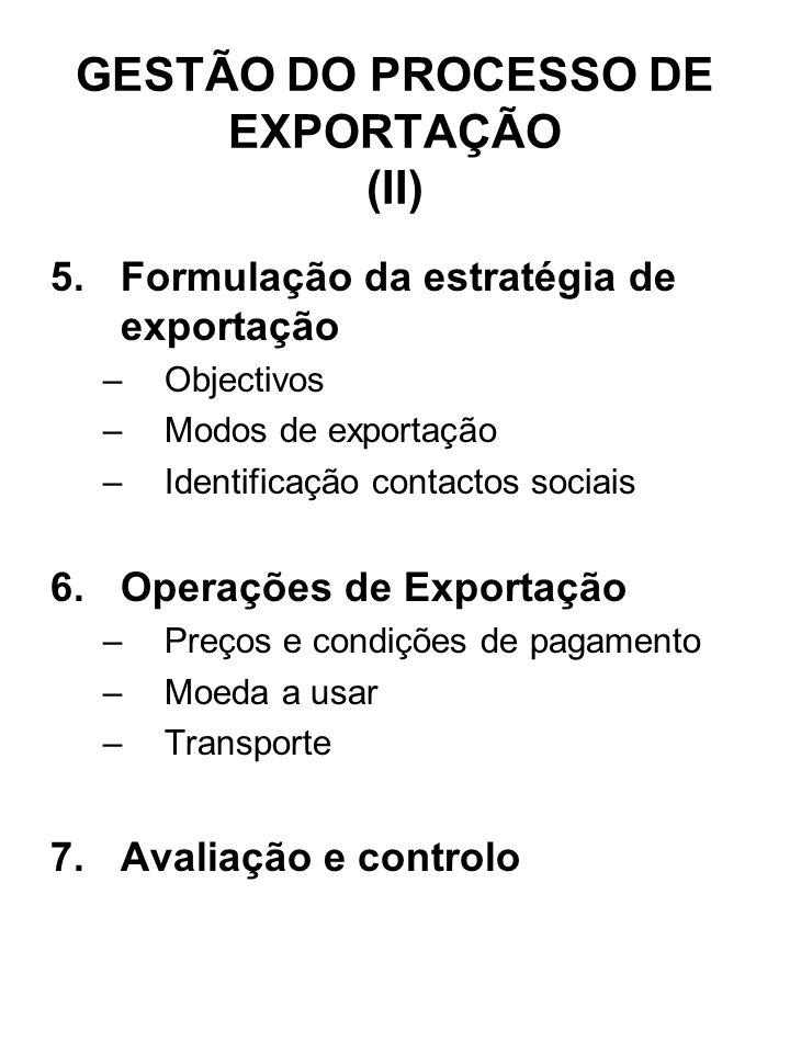 GESTÃO DO PROCESSO DE EXPORTAÇÃO (II)