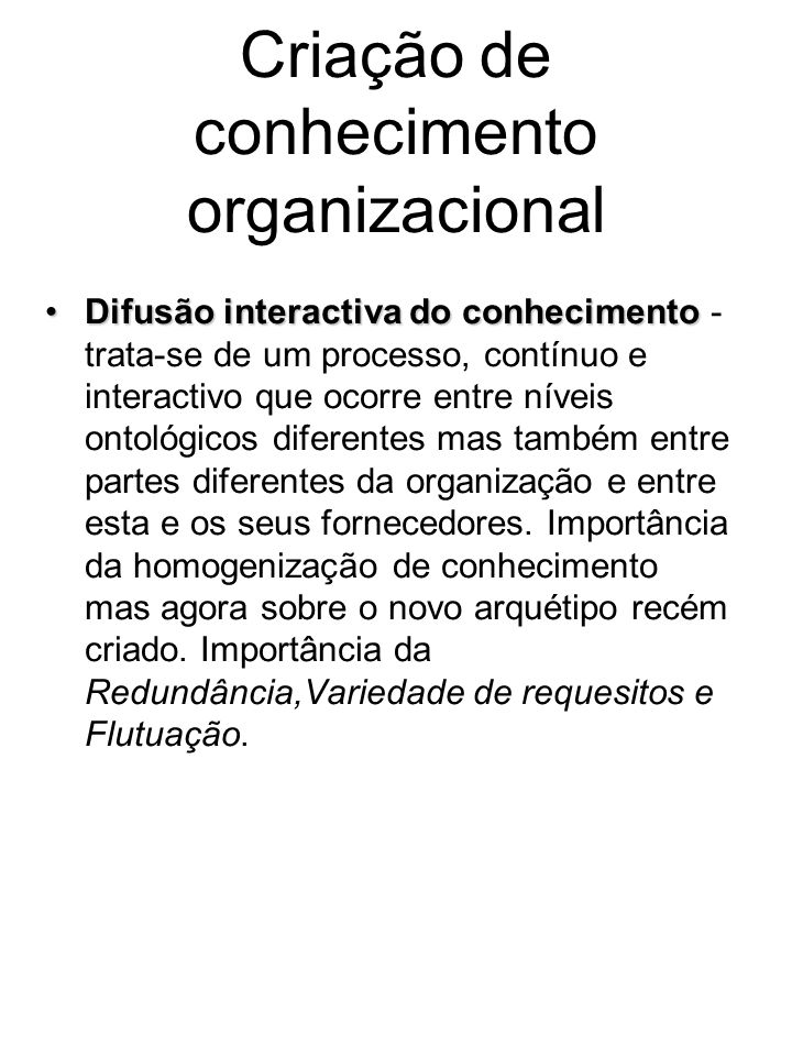 Criação de conhecimento organizacional