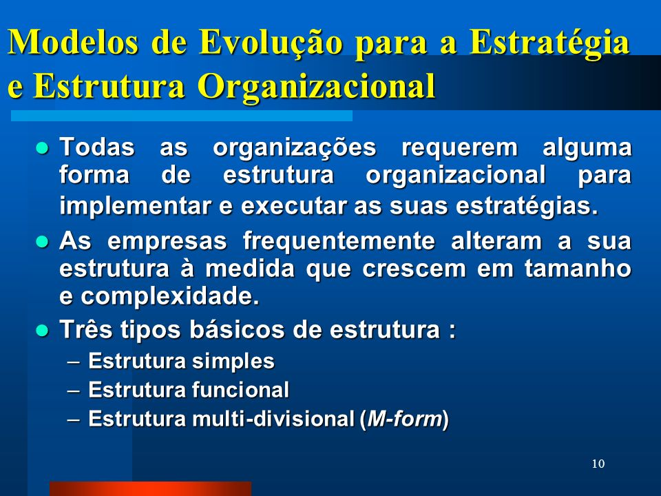 Modelos de Evolução para a Estratégia e Estrutura Organizacional
