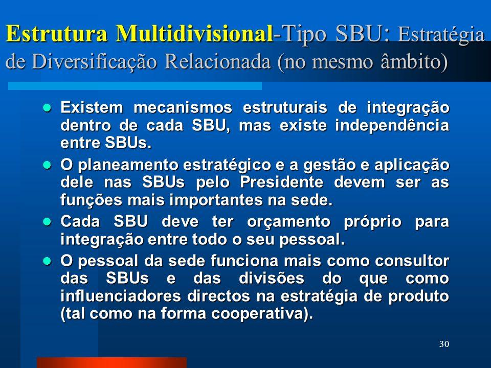 Estrutura Multidivisional-Tipo SBU: Estratégia de Diversificação Relacionada (no mesmo âmbito)