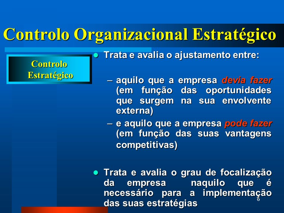 Controlo Organizacional Estratégico