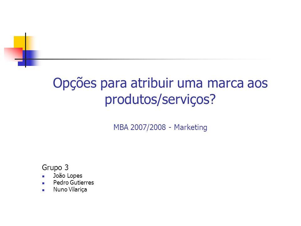 Opções para atribuir uma marca aos produtos/serviços