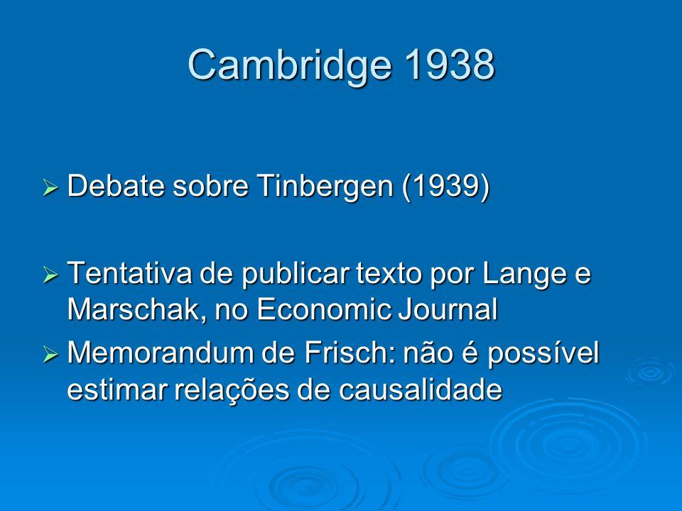 Cambridge 1938 Debate sobre Tinbergen (1939)