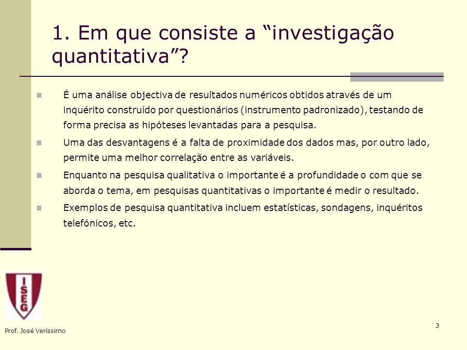 1. Em que consiste a investigação quantitativa