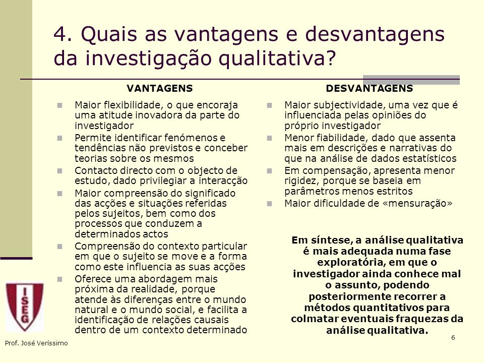 4. Quais as vantagens e desvantagens da investigação qualitativa