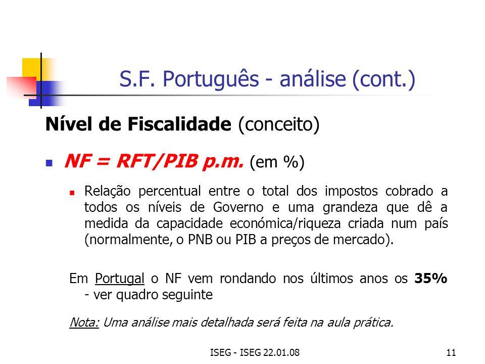 S.F. Português - análise (cont.)
