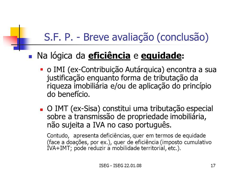 S.F. P. - Breve avaliação (conclusão)