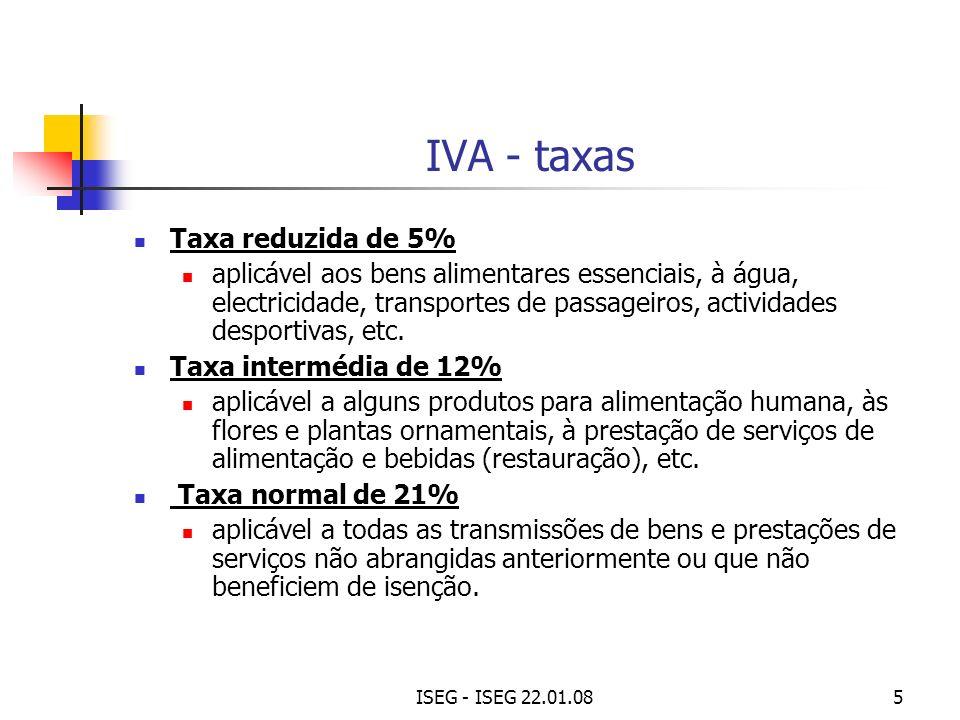 IVA - taxas Taxa reduzida de 5%