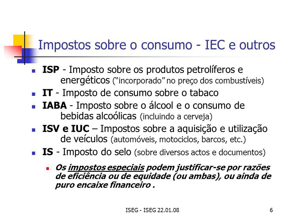 Impostos sobre o consumo - IEC e outros