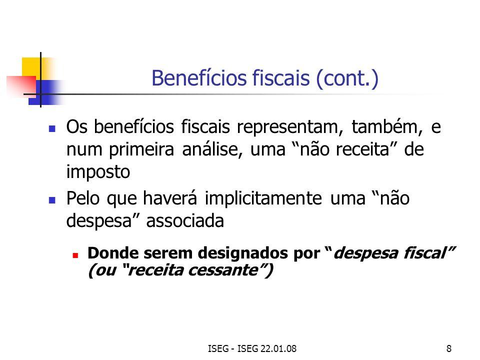 Benefícios fiscais (cont.)