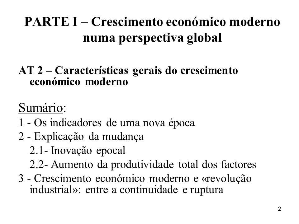 PARTE I – Crescimento económico moderno numa perspectiva global