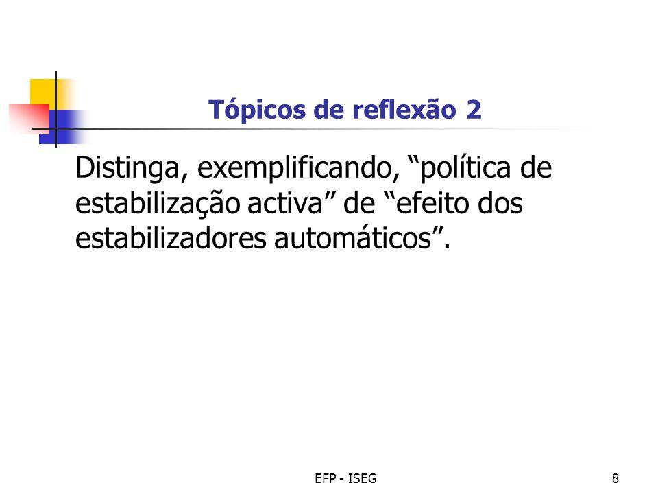 Tópicos de reflexão 2 Distinga, exemplificando, política de estabilização activa de efeito dos estabilizadores automáticos .