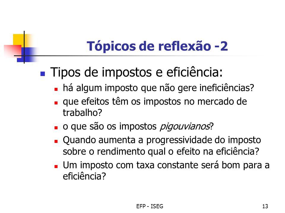 Tipos de impostos e eficiência: