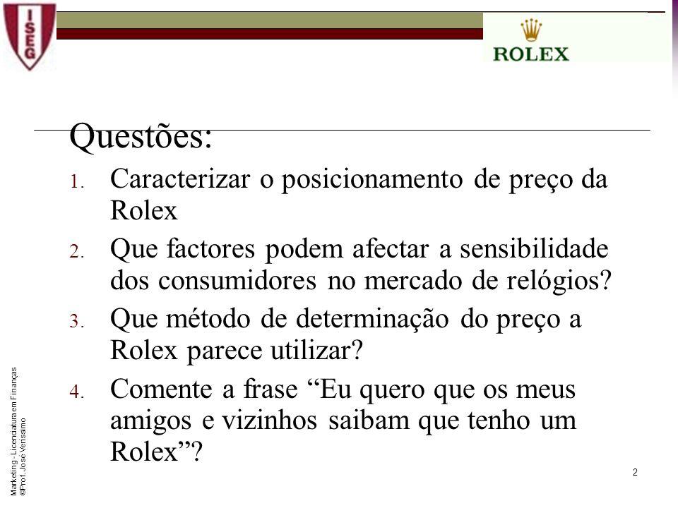 Questões: Caracterizar o posicionamento de preço da Rolex