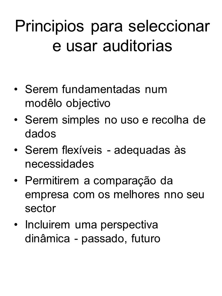 Principios para seleccionar e usar auditorias