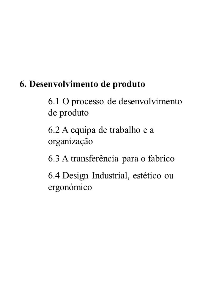 6. Desenvolvimento de produto