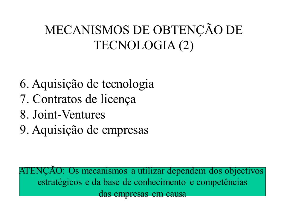 MECANISMOS DE OBTENÇÃO DE TECNOLOGIA (2)
