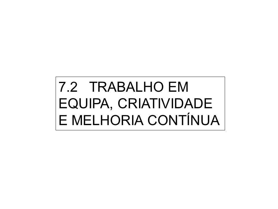7.2 TRABALHO EM EQUIPA, CRIATIVIDADE E MELHORIA CONTÍNUA