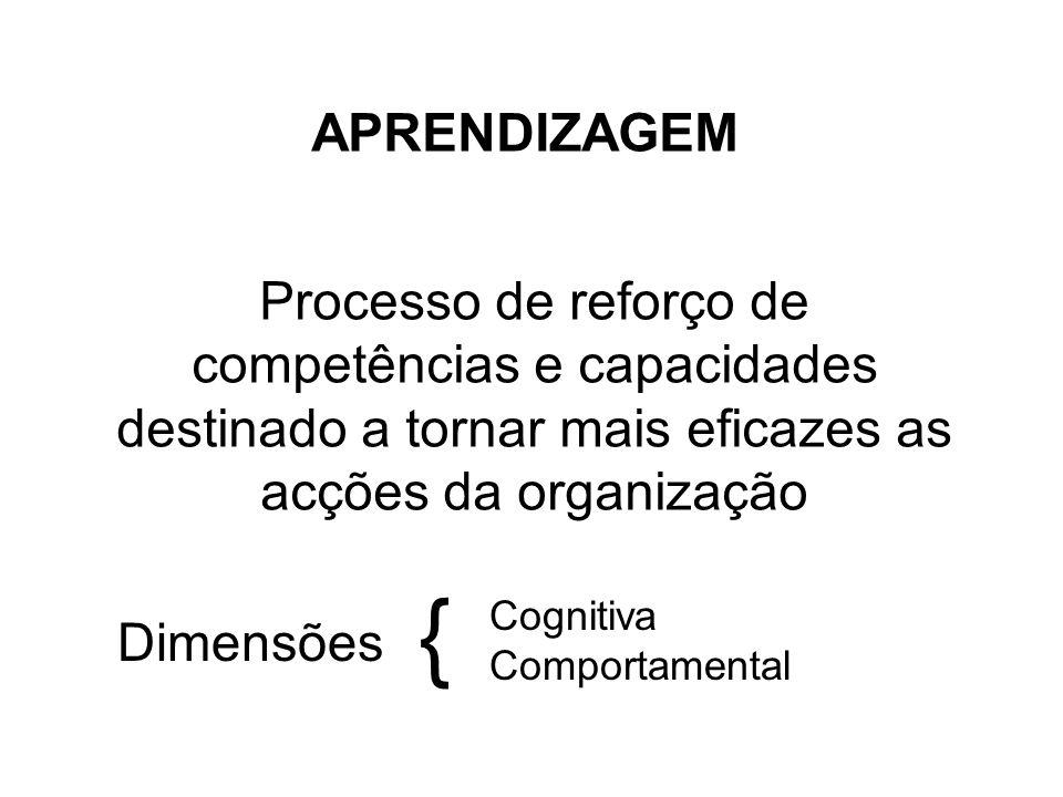 APRENDIZAGEM Processo de reforço de competências e capacidades destinado a tornar mais eficazes as acções da organização.