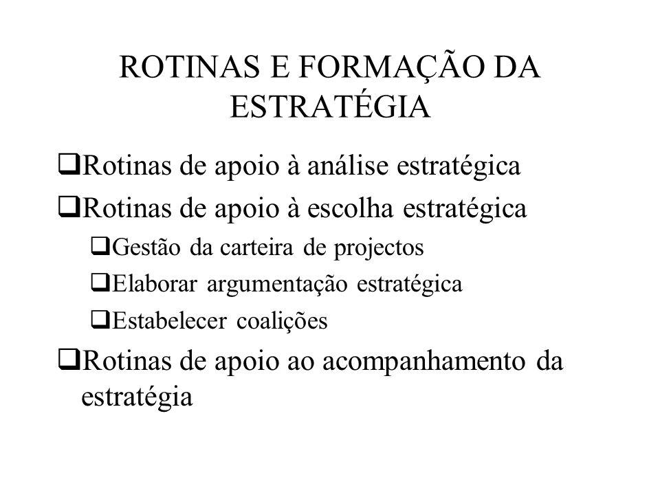 ROTINAS E FORMAÇÃO DA ESTRATÉGIA