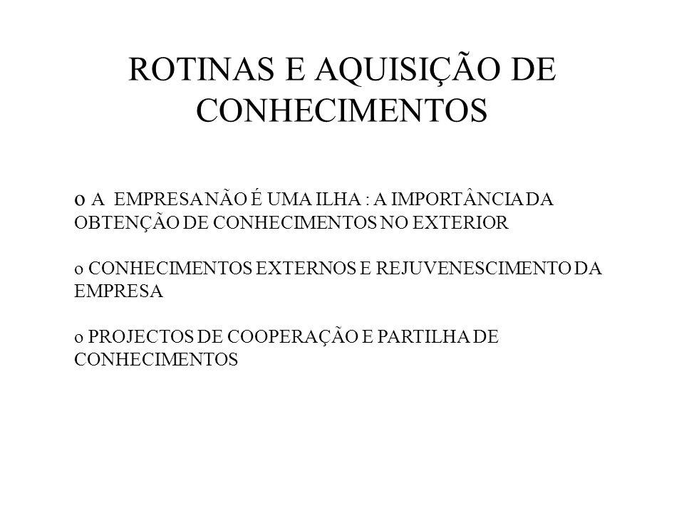 ROTINAS E AQUISIÇÃO DE CONHECIMENTOS