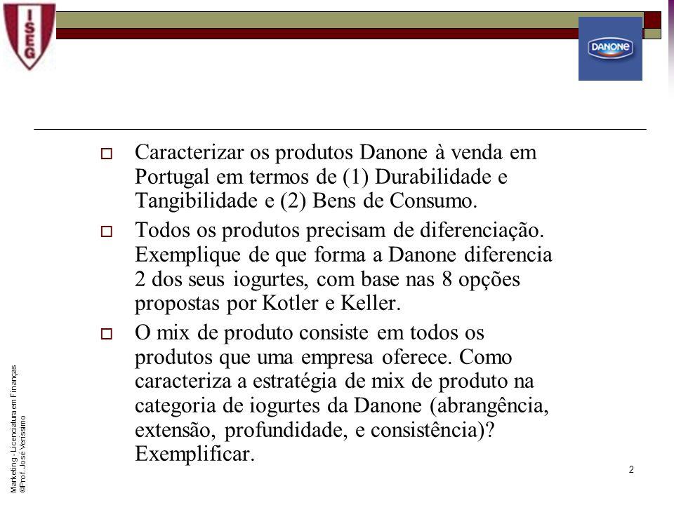 Caracterizar os produtos Danone à venda em Portugal em termos de (1) Durabilidade e Tangibilidade e (2) Bens de Consumo.