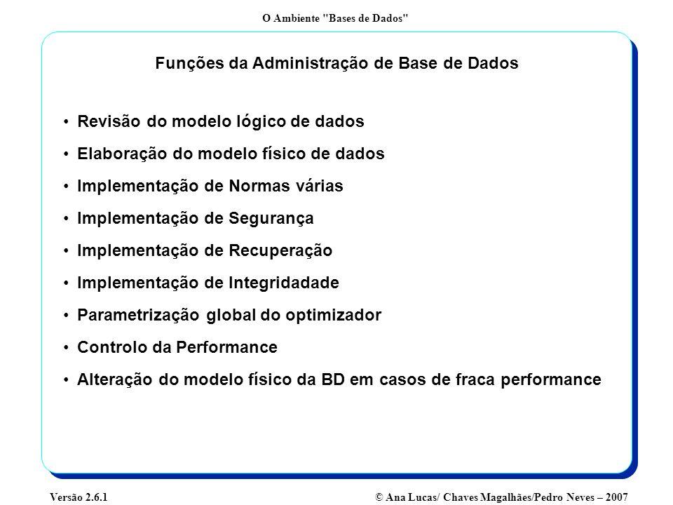 Funções da Administração de Base de Dados