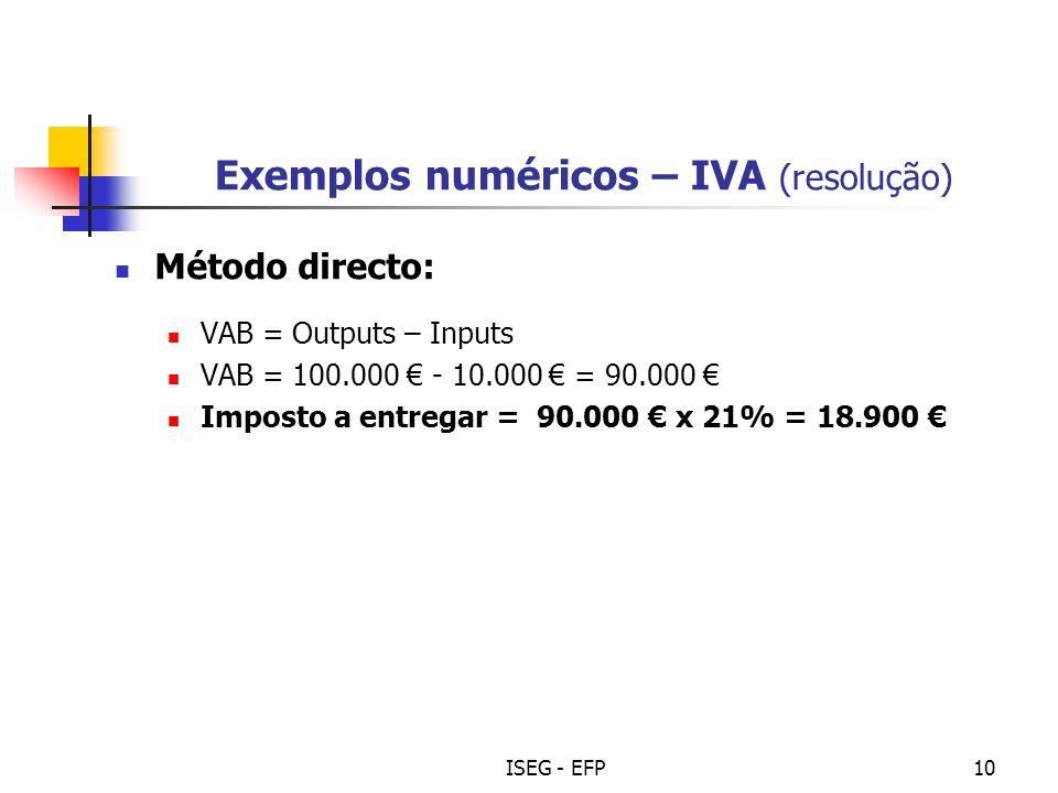 Exemplos numéricos – IVA (resolução)