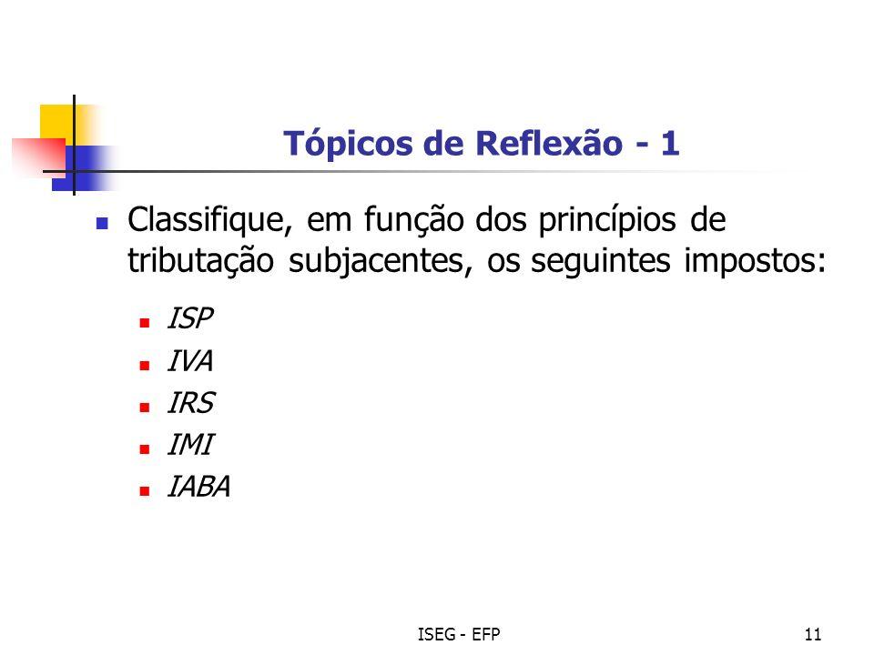 Tópicos de Reflexão - 1 Classifique, em função dos princípios de tributação subjacentes, os seguintes impostos: