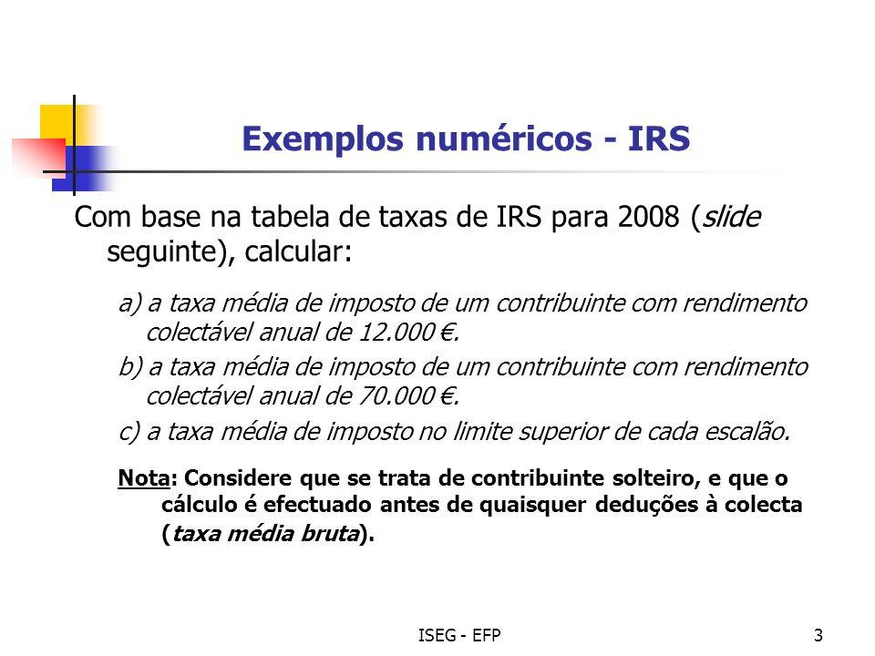 Exemplos numéricos - IRS