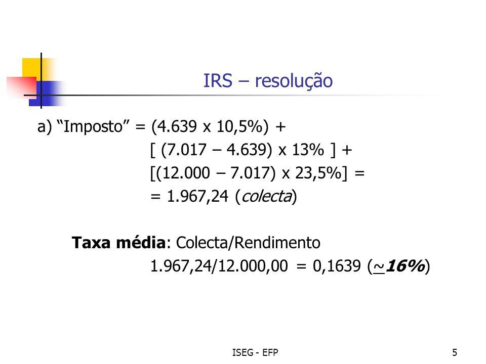 IRS – resolução a) Imposto = (4.639 x 10,5%) +