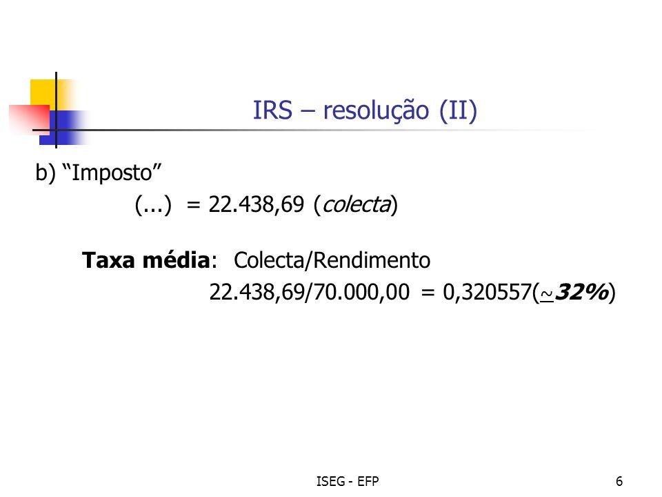 IRS – resolução (II) b) Imposto (...) = 22.438,69 (colecta)