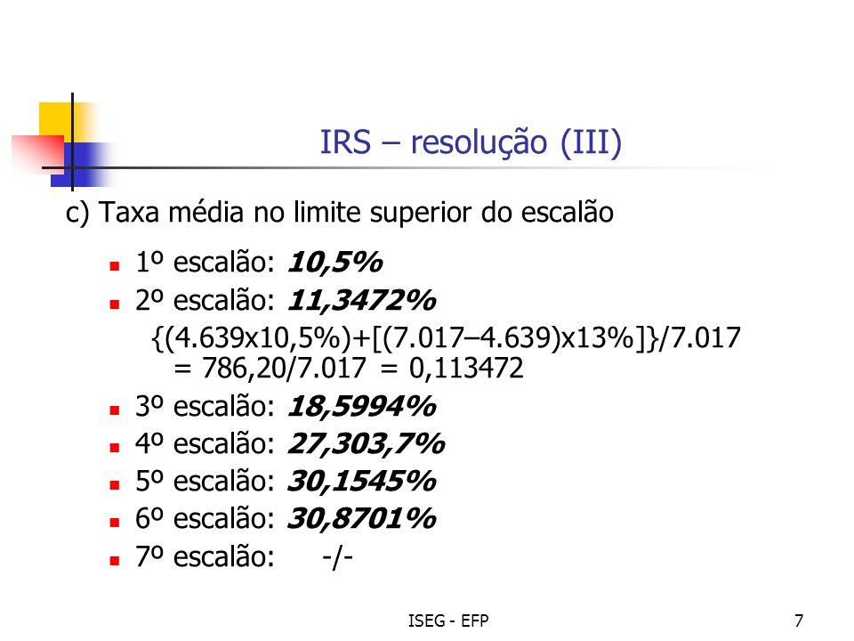 IRS – resolução (III) c) Taxa média no limite superior do escalão