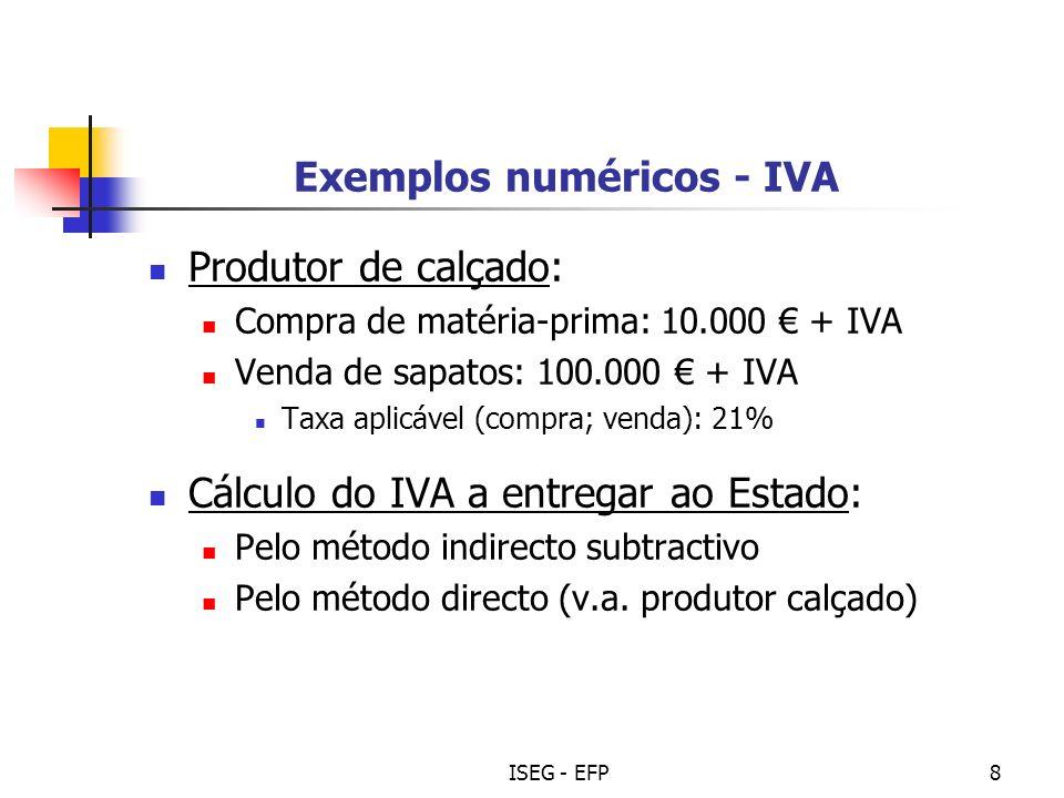 Exemplos numéricos - IVA