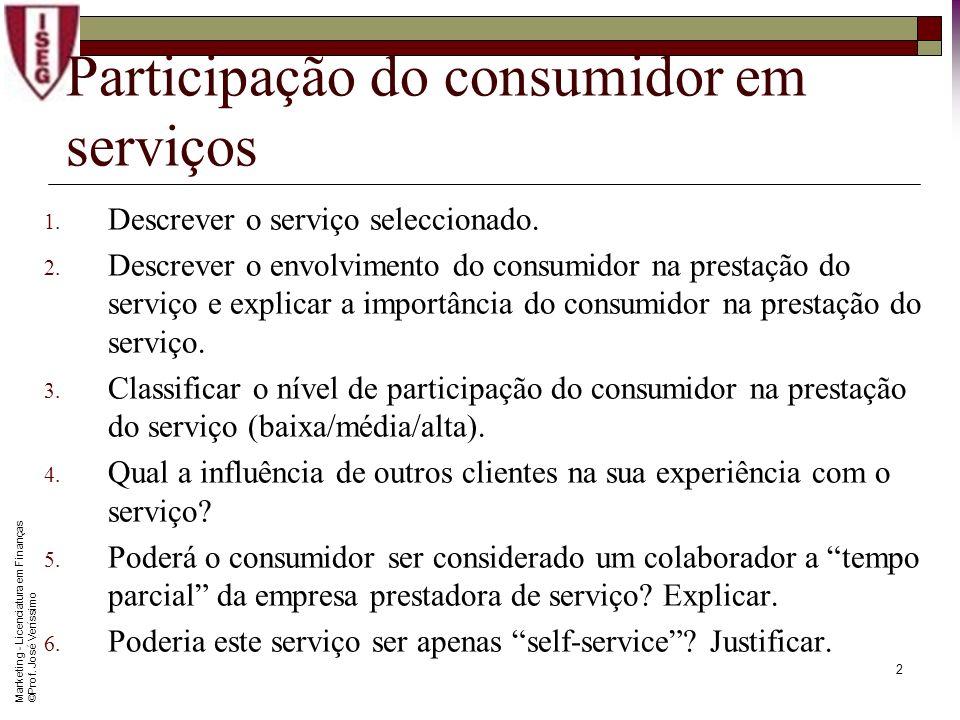 Participação do consumidor em serviços