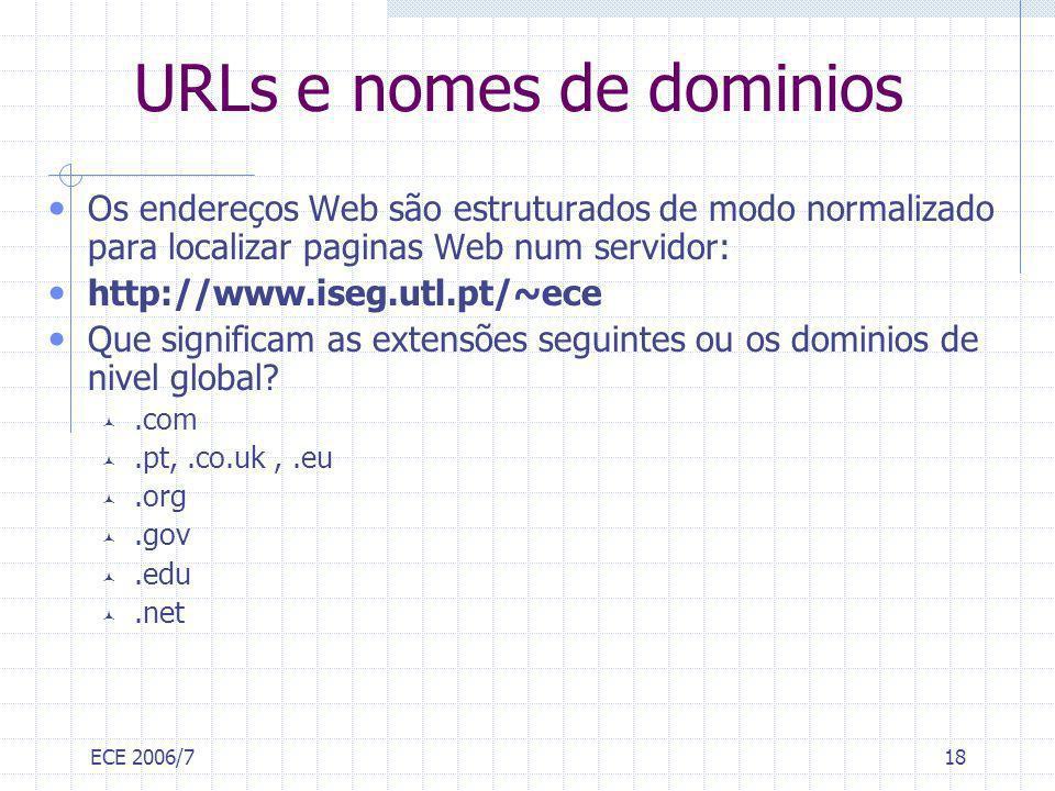 URLs e nomes de dominios