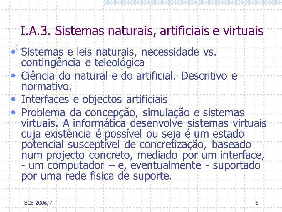 I.A.3. Sistemas naturais, artificiais e virtuais