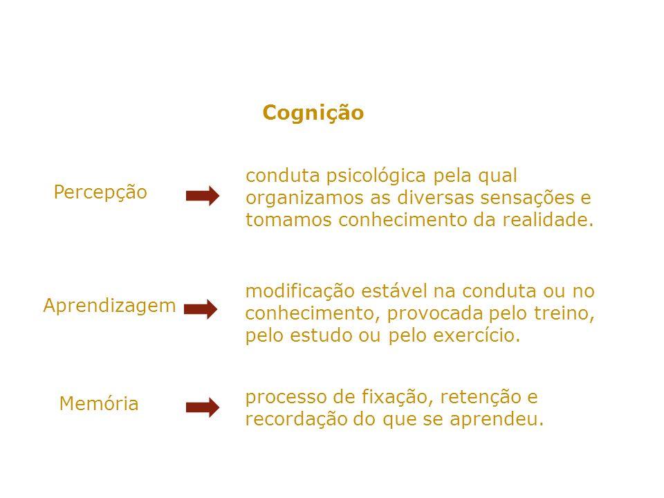 Cognição conduta psicológica pela qual organizamos as diversas sensações e tomamos conhecimento da realidade.